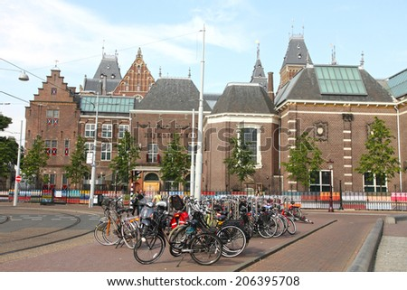 AMSTERDAM HOLLAND-JUNE 7: Rijksmuseum (State Museum), the Dutch national museum dedicated to arts and history on June 6, 2014 in Amsterdam in the Netherlands. - stock photo