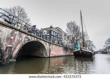 Amsterdam Holland, November 2014 : Holiday in Holland - Canal Cruises view of Amsterdam
