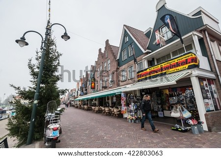 Amsterdam Holland, November 2014 : Holiday in Holland - Cold Raining Wet Winter in Volendam