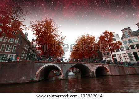 Amsterdam in summer. Elements of this image furnished by NASA
