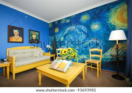 AMSTERDAM   JUNE 6   Van Gogh room of Hilton Hotel Amsterdam on June 6 Vincent Van Gogh Stock Images  Royalty Free Images   Vectors  . The Bedroom Van Gogh Painting. Home Design Ideas