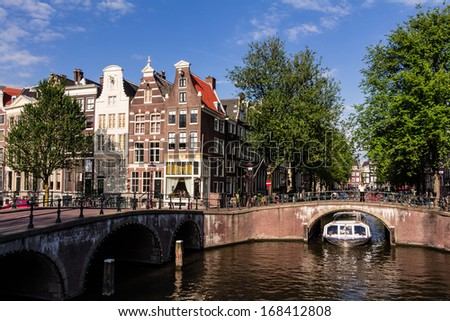 Amsterdam Keizersgracht/Leidsegracht - stock photo