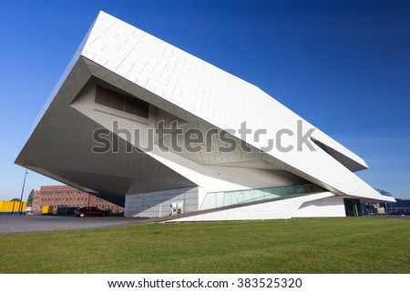 AMSTERDAM - MAY 15, 2014: The EYE Film Institute building in Amsterdam. In April of 2012, the Queen opened the film museum which became one of the main attractions of the Dutch capital.  - stock photo
