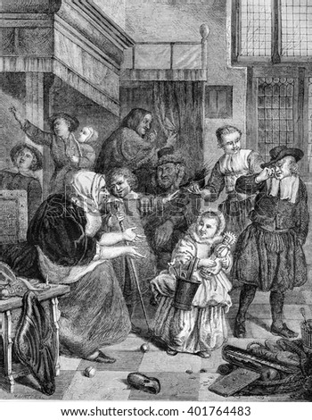 Amsterdam Museum, The Feast of Saint-Nicolas, by Jan Steen, vintage engraved illustration. Magasin Pittoresque 1861.