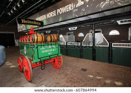 Amsterdam, Netherlands, April 12, 2016 : Beer Tap in the Heineken Experience where is a historic brewery and corporate visitor center for the internationally distributed Dutch pilsner, Heineken beer.