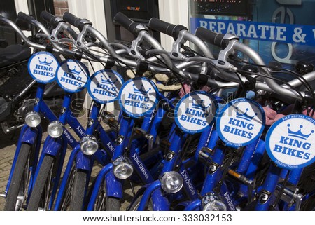 Amsterdam , Netherlands-april 12, 2015: bikes for rent a street of amsterdam