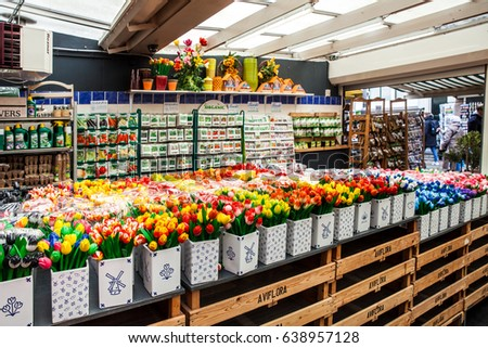 Amsterdam, Netherlands - April, 2017: Flower market in Amsterdam city, Netherlands