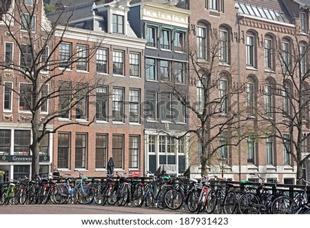 AMSTERDAM, NETHERLANDS - APRIL 3: Lots of bikes in city Amsterdam on April 3, 2014 in Amsterdam