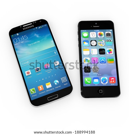 AMSTERDAM, NETHERLANDS - APRIL 2014: Samsung Galaxy S and iPhone 5 on display. An in-trade site reveals that over one third of individuals upgrading to Samsung's Galaxy S5 handset were iPhone owners. - stock photo