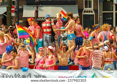 Amsterdam, Netherlands - August 2, 2014: annual event for the protection of human rights and civil equality - Gay Pride.
