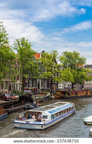 AMSTERDAM, NETHERLANDS - AUGUST 19: Canals of Amsterdam. Amsterdam is the capital and most populous city of the Netherlands on August 19, 2014