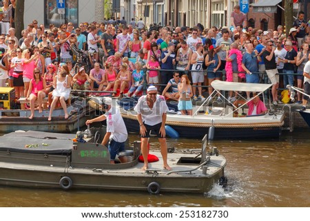 Amsterdam, Netherlands - August 2, 2014:  participants in the annual event for the protection of human rights and civil equality -  Gay Pride. - stock photo