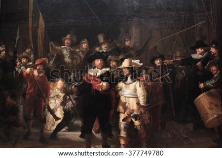 AMSTERDAM, NETHERLANDS -31 December 2015: the picture named The night watch from Rembrandt at Rijksmuseum in city Amsterdam  - stock photo