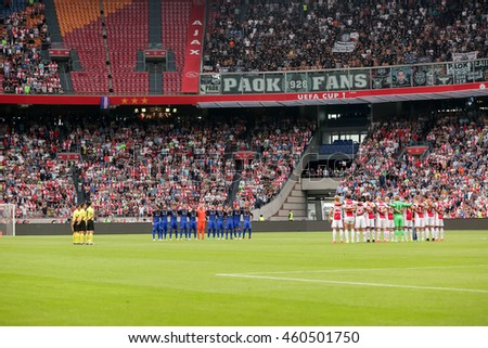 Amsterdam, Netherlands- July 26, 2016: Interior view of the full Amsterdam Arena Stadium during the UEFA Champions League third qualifying round between Ajax vs PAOK
