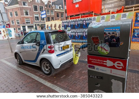 AMSTERDAM, NETHERLANDS - JULY 29, 2015: The Smart Fortwo electric drive, or smart ed, is a battery electric vehicle variant of the Smart Fortwo city car, formerly marketed as the Smart Fortwo EV.