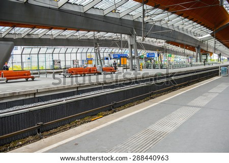 AMSTERDAM, NETHERLANDS - JUN 1, 2015: Amsterdam Bijlmer ArenA metro station. It's a  railway station in the Bijlmermeer neighbourhood of the Amsterdam Zuidoost stadsdeel