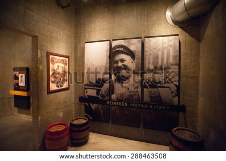 AMSTERDAM, NETHERLANDS - JUN 3, 2015: Heineken Experience center, a historic brewery for the Dutch Heineken beer. Gerard Adriaan Heineken was a founder of the Heineken beer