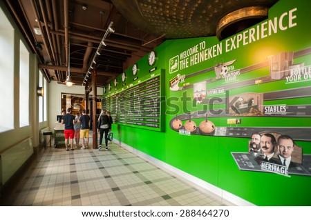 AMSTERDAM, NETHERLANDS - JUN 3, 2015: Heineken Experience center, a historic brewery for the Dutch Heineken beer. Gerard Adriaan Heineken was a founder of the Heineken beer