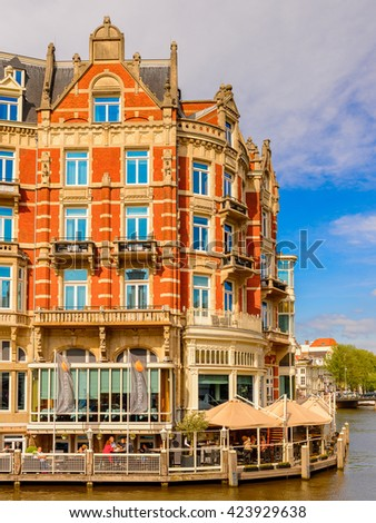 AMSTERDAM, NETHERLANDS - JUN 1, 2015: Hotel L'Europe of Amsterdam. Amsterdam is the capital city and most populous city of the Kingdom of the Netherlands