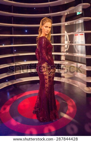 AMSTERDAM, NETHERLANDS - JUN 1, 2015: Jennifer Lopez, the actress and singer, Madame Tussauds museum in Amsterdam. Marie Tussaud was born as Marie Grosholtz in 1761 - stock photo