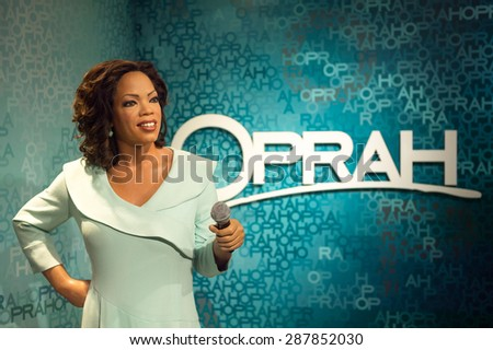 AMSTERDAM, NETHERLANDS - JUN 1, 2015: Oprah Whinfrey, US TV host, Madame Tussauds museum in Amsterdam. Marie Tussaud was born as Marie Grosholtz in 1761