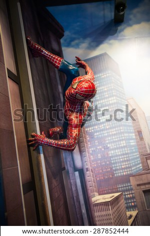 AMSTERDAM, NETHERLANDS - JUN 1, 2015: Spiderman in the Madame Tussauds museum in Amsterdam. Marie Tussaud was born as Marie Grosholtz in 1761 - stock photo