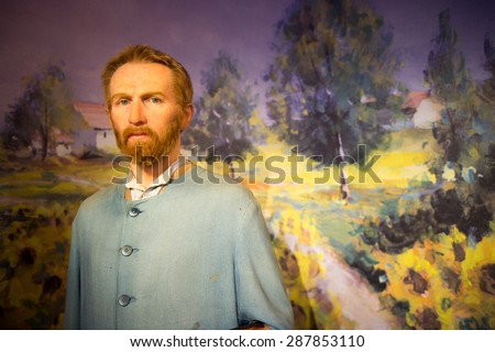 AMSTERDAM, NETHERLANDS - JUN 1, 2015: Vincent van Gogh, Madame Tussauds museum in Amsterdam. Marie Tussaud was born as Marie Grosholtz in 1761 - stock photo
