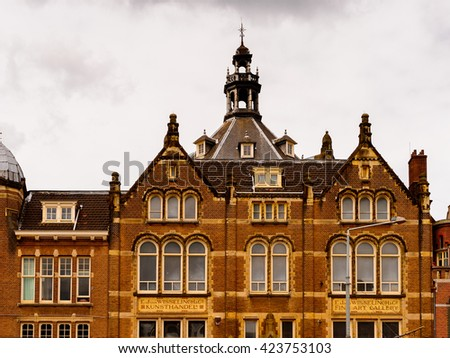 AMSTERDAM, NETHERLANDS - JUNE 1, 2015: Architecture of Amsterdam, Netherlands. Amsterdam is the capital of Netherlands and a popular touristic destination