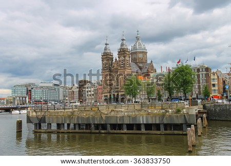 Amsterdam, Netherlands - June 20, 2015: Basilica of St. Nicholas in Amsterdam