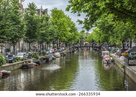 AMSTERDAM, NETHERLANDS - JUNE 17, 2014: Beautiful view of Amsterdam canals, bridge and typical Dutch houses. Amsterdam has more than one hundred kilometers of canals, 90 islands and 1,500 bridges.