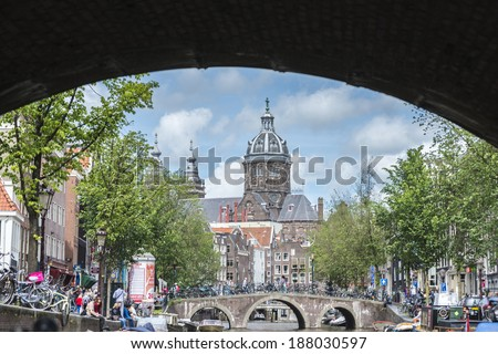 AMSTERDAM, NETHERLANDS - JUNE 16, 2013: Church dedicated to Saint Nicholas, patron saint of Amsterdam in Netherlands.