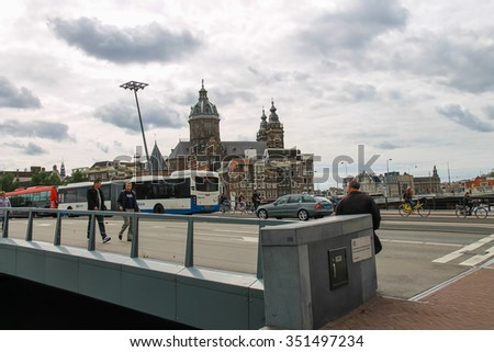 Amsterdam, Netherlands - June 20, 2015: City views in the center of Amsterdam - stock photo