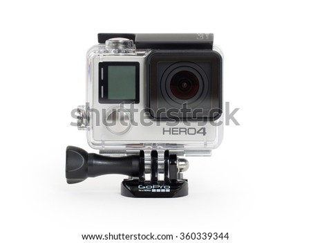 Amsterdam, Netherlands - June 30, 2015: GoPro Hero 4 Black Edition isolated on white background, GoPro is a brand of high-definition personal cameras, often used in extreme action video photography. - stock photo