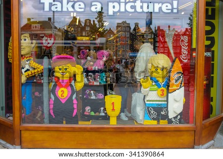 Amsterdam, Netherlands - June 20, 2015: Shop window of toys in Amsterdam. Netherlands
