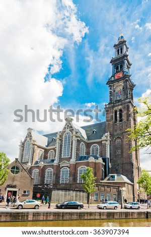 AMSTERDAM, NETHERLANDS - JUNE 01, 2015: Westerkerk church in Amsterdam, Netherlands. Amsterdam is the capital city and most populous city of the Kingdom of the Netherlands. - stock photo