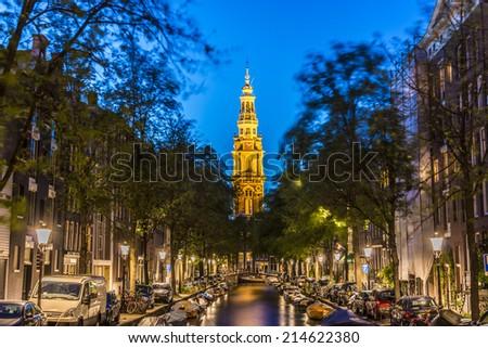 AMSTERDAM, NETHERLANDS - JUNE 15, 2013: Zuiderkerk (Southern Church), 17th-century Protestant church in the Nieuwmarkt area of Amsterdam, Netherlands. - stock photo