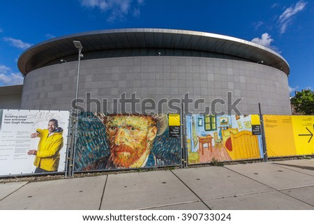AMSTERDAM, NETHERLANDS - MAR 12, 2016: The Van Gogh Museum is an art museum in Amsterdam in the Netherlands dedicated to the works of Vincent van Gogh and his contemporaries.