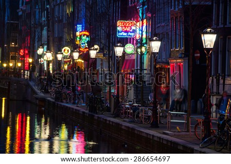 Red light district stock images royalty free images vectors amsterdam netherlands march 16 2014 night view of red light district aloadofball Image collections