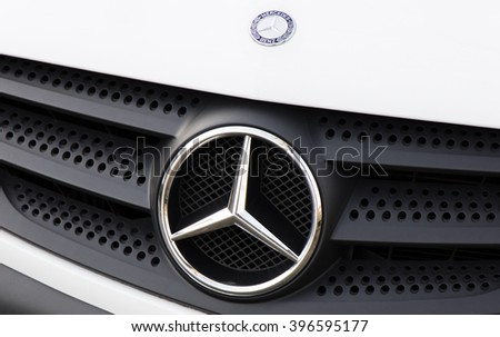 Amsterdam, Netherlands-march 26, 2016: Sign of Mercedes, Mercedes-Benz makes cars and -busjes, vans, buses, trucks and airplanes