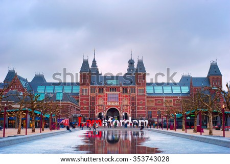AMSTERDAM, NETHERLANDS - MARCH 04, 2014: The Rijksmuseum Amsterdam museum area with the words IAMSTERDAM. The Rijksmuseum is a Dutch national museum dedicated to arts and history - stock photo