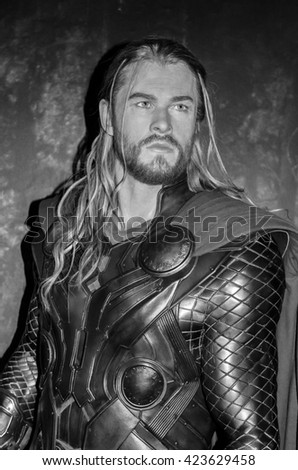 AMSTERDAM, NETHERLANDS - May 5, 2016: Chris Hemsworth as Thor at the Amsterdam Madame Tussauds wax museum.