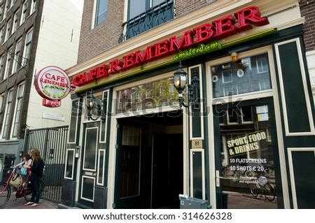AMSTERDAM, NETHERLANDS - May 6, 2013: Coffee shop in the red light district where you can consume marijuana