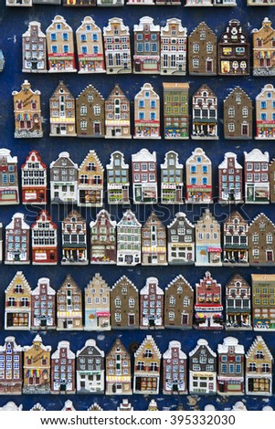 Amsterdam, Netherlands, 10 may 2015: display of miniature canal houses in Amsterdam souvenir shop - stock photo