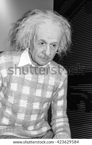AMSTERDAM, NETHERLANDS - May 5, 2016: Scientist Albert Einstein at the Amsterdam Madame Tussauds wax museum.