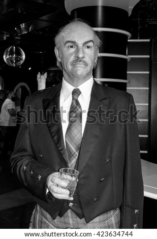 AMSTERDAM, NETHERLANDS - May 5, 2016: Sean Connery in Madame Tussauds museum in Amsterdam.