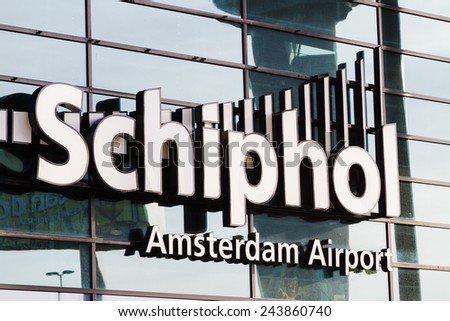 AMSTERDAM, NETHERLANDS - NOVEMBER 08: The main entrance of Amsterdam Airport Schiphol on November 08, 2014 in Amsterdam, Netherlands. It is the Netherlands' main international airport.