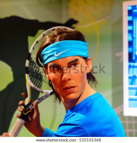 AMSTERDAM, NETHERLANDS - OCT 26, 2016: Rafael Rafa Nadal, Spanish professional tennis player, Madame Tussauds wax museum in Amsterdam. One of the popular touristic attractions