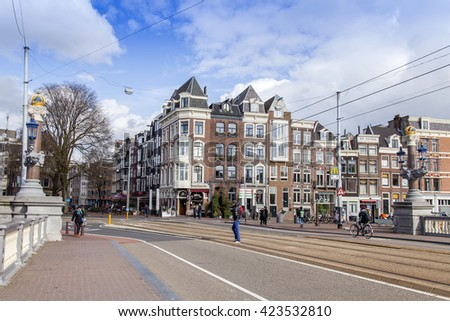 AMSTERDAM, NETHERLANDS on MARCH 27, 2016. Typical urban view.