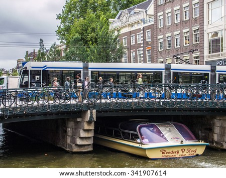 AMSTERDAM, NETHERLANDS - SEP 2: Cityscape of Amsterdam in Netherlands on September 2, 2013. Amsterdam is the capital city and most populous city of the Kingdom of the Netherlands. - stock photo