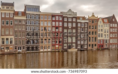 Amsterdam, Netherlands - September 25, 2017: Architecture of the historic district of the city.
